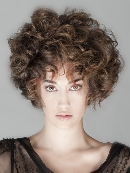 short haircut with large curls