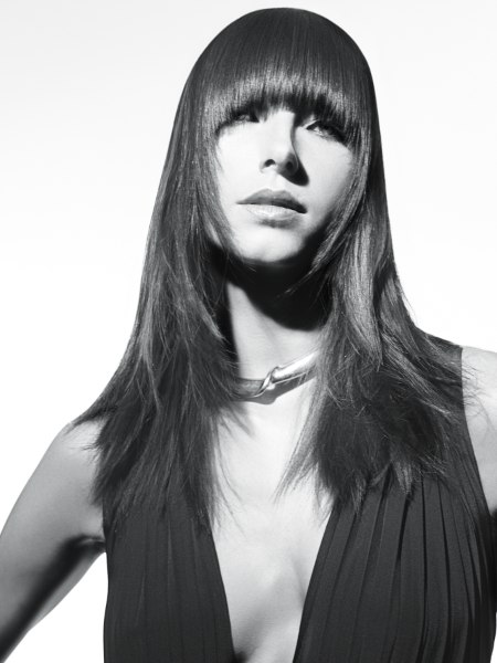 long hairstyle with a sleek fringe