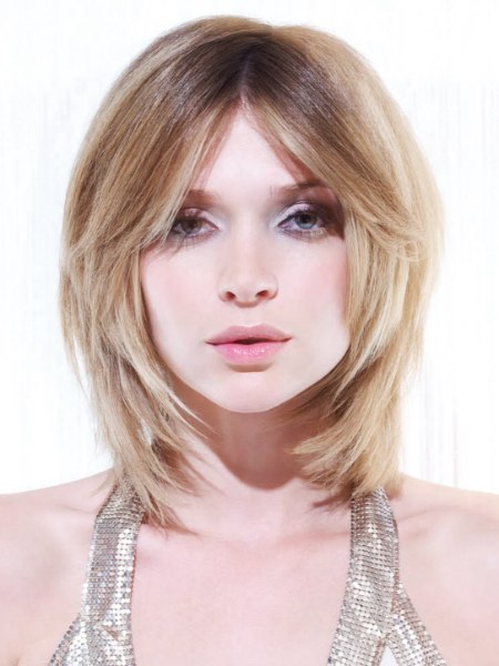 medium hairstyle with shades of blonde