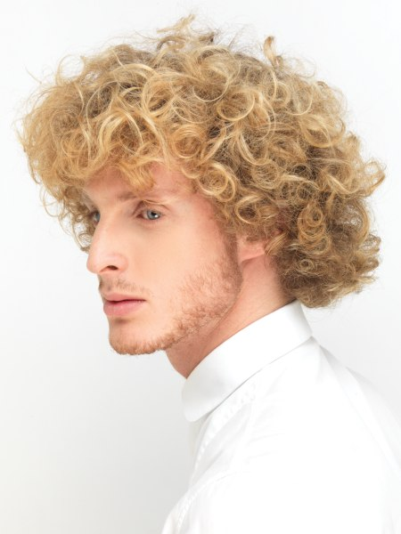 layered men's hair with curls