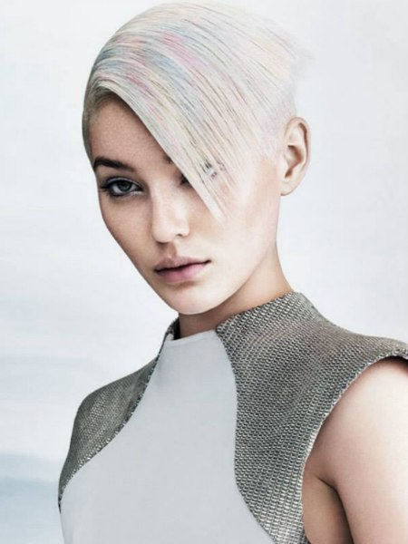 sleek hair with color accents