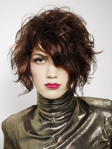 tousled bob and shiny rollneck top