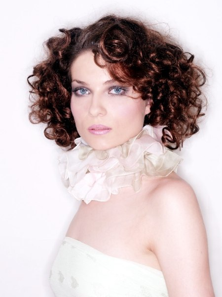 Festive hairstyle with big romantic curls