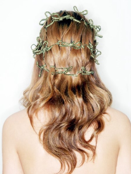 Long fairy tale hairdo with woven ribbons - Back view