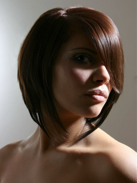 photo of razor cut midlength hair