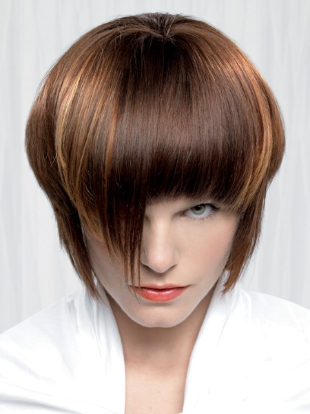 rounded hairstyle with bangs