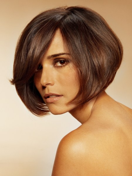 Greta Garbo inspired bob cut with a high partition