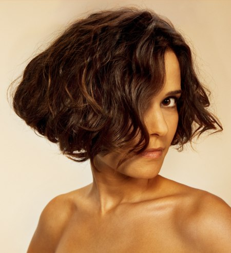 short bob cut with natural looking curls