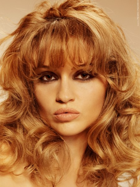 Brigitte Bardot look with long curly hair and long bangs