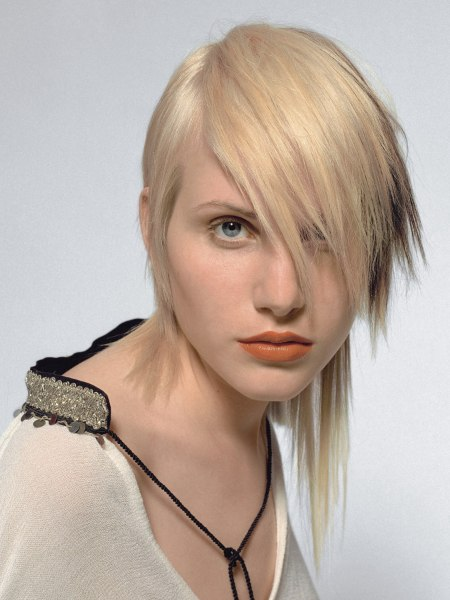 hairstyle with a strong asymmetrical line