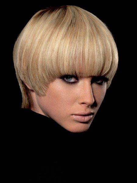 modern pudding-bowl cut or purdey for blonde hair