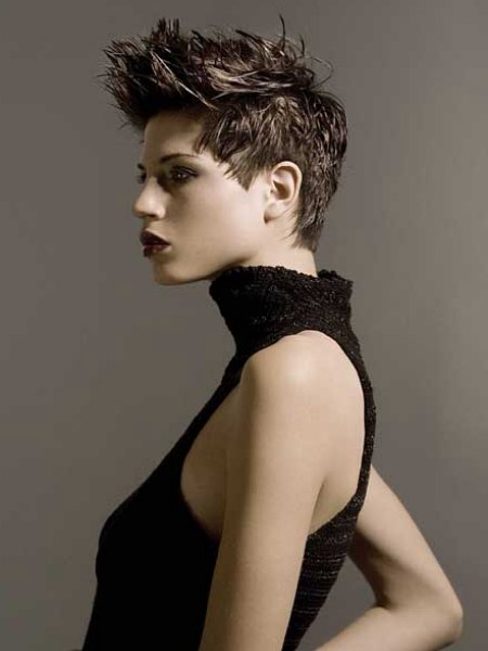 short hair styled with gel
