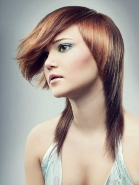 steeply tapered hair