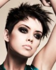 Choppy short pixie hairstyle with spikes