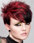Daring short haircut with contrasting hair colors