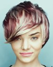 short haircut with multiple hair colors