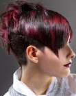 Very short hairstyle with clipper cut back and sides for women