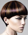 Short mushroom cut with shine and daring hair colors