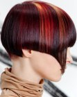 short nape and hair color streaks