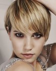 Sophisticated short hairstyle with a long fringe
