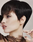 Short hairstyle with a smooth clipper cut nape
