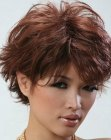 Short Asian hairstyle with layers and bangs