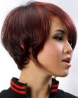Short hairstyle with smooth hair that curves around the neck