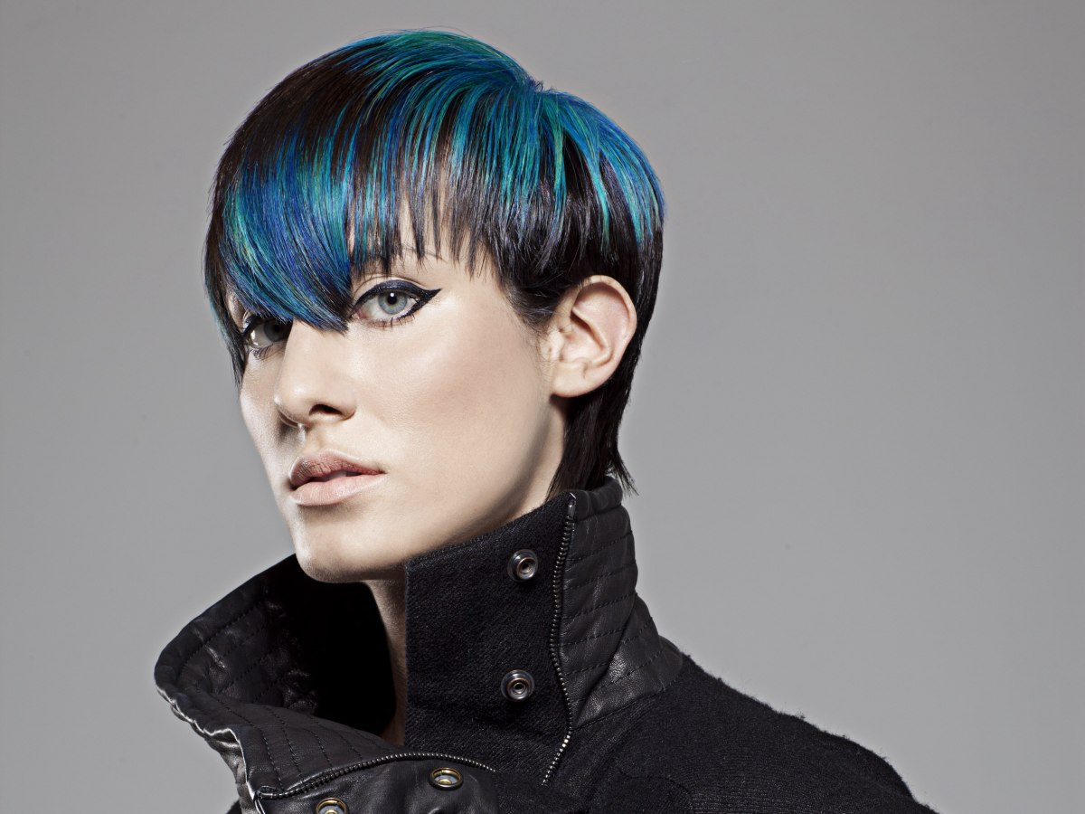 Black hair with purple and blue streaks