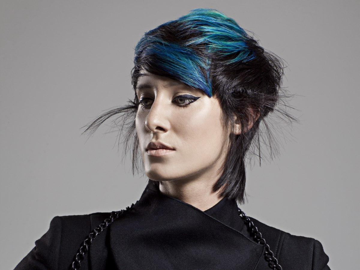 Blue On Black Hair Color Contrast