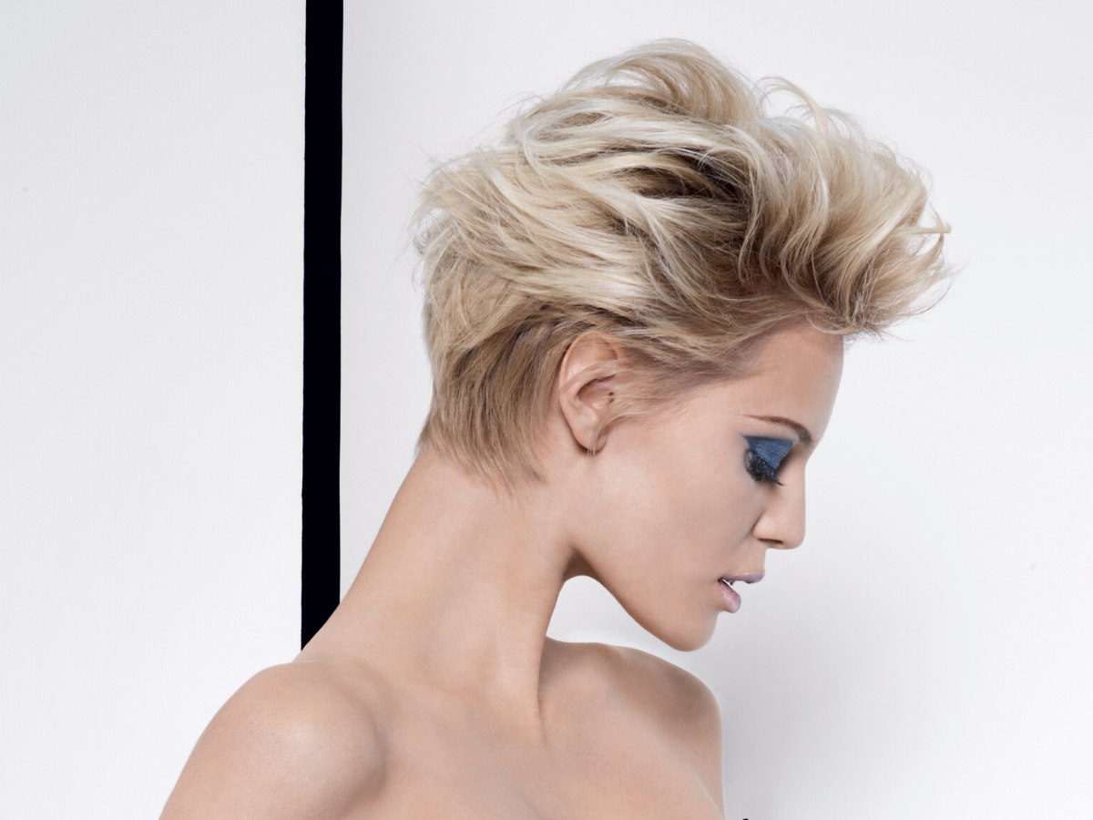 Surprising Flipped Back Hairstyle With A Short Nape And High Top Hairstyles For Women Draintrainus
