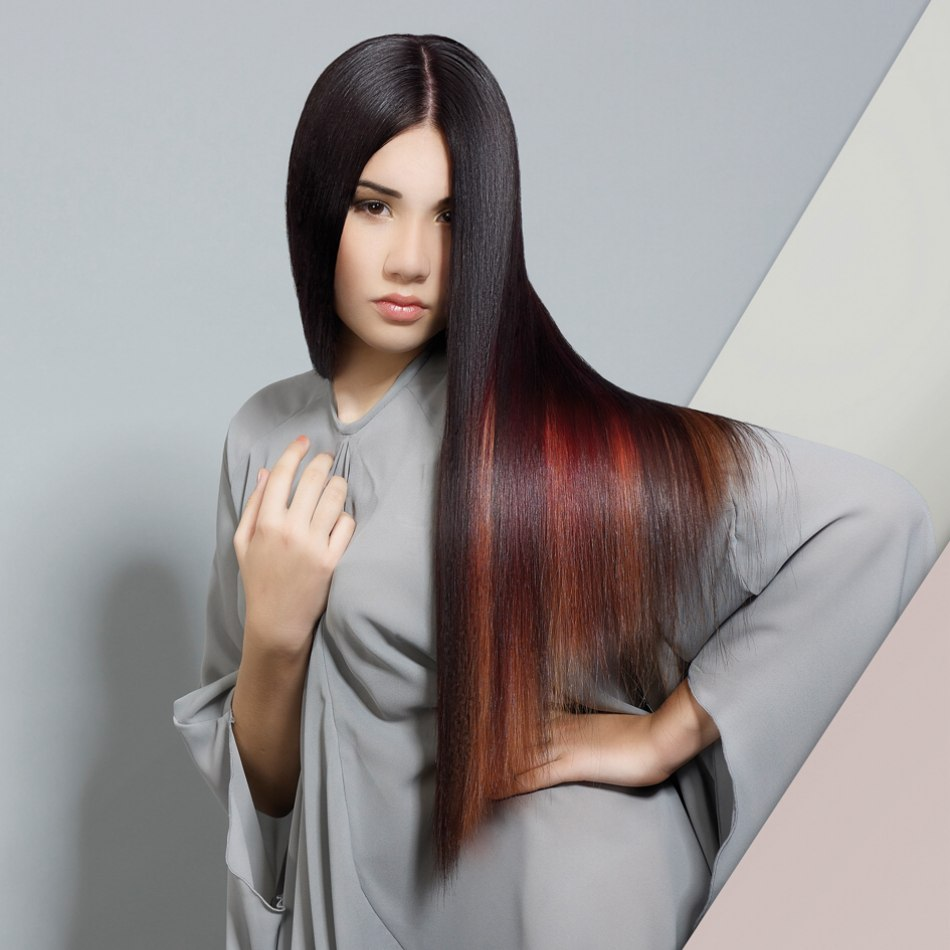 Long Sleek Hair With Flame Shaped Streaks Of Color