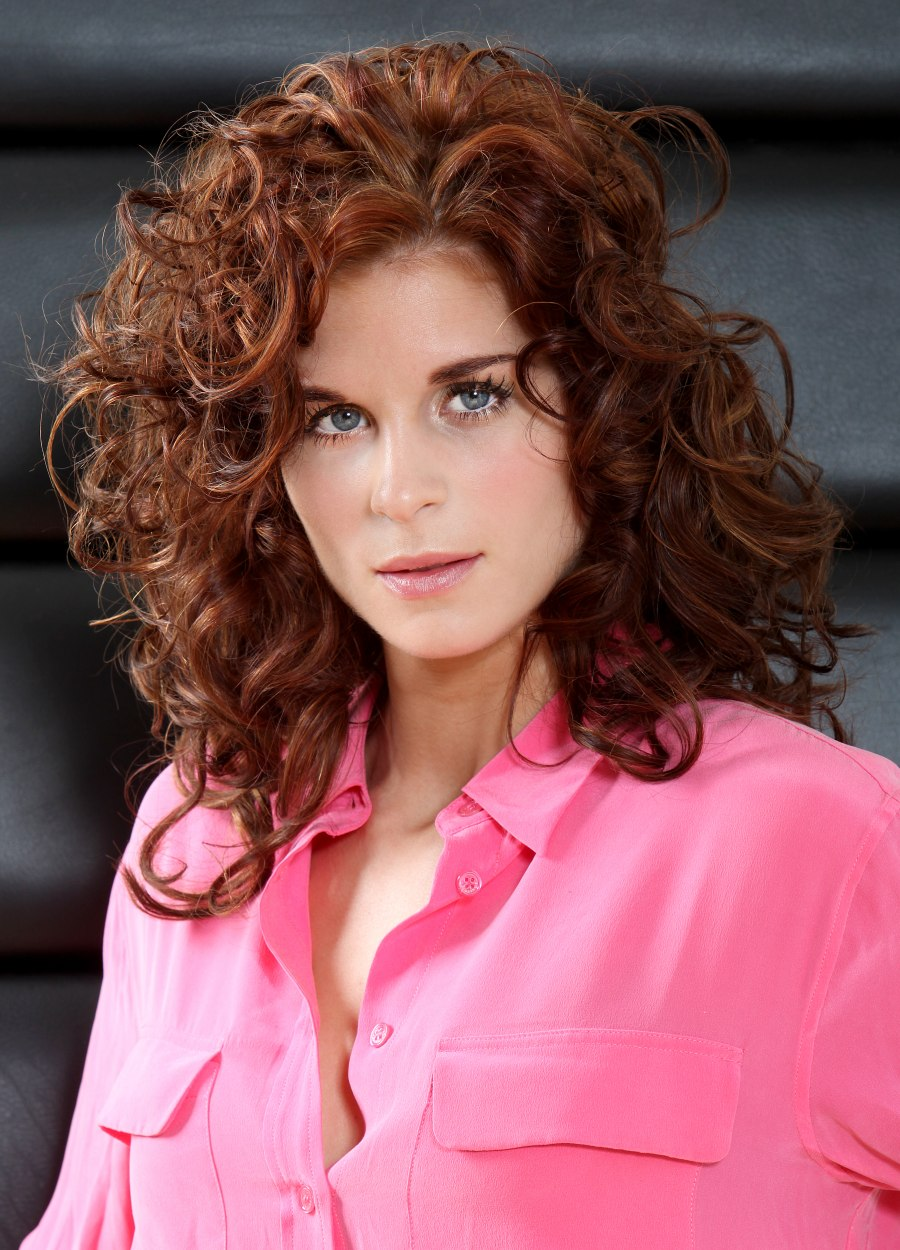 Long Hairstyle With Big Curls Reddish Brown Hair Color
