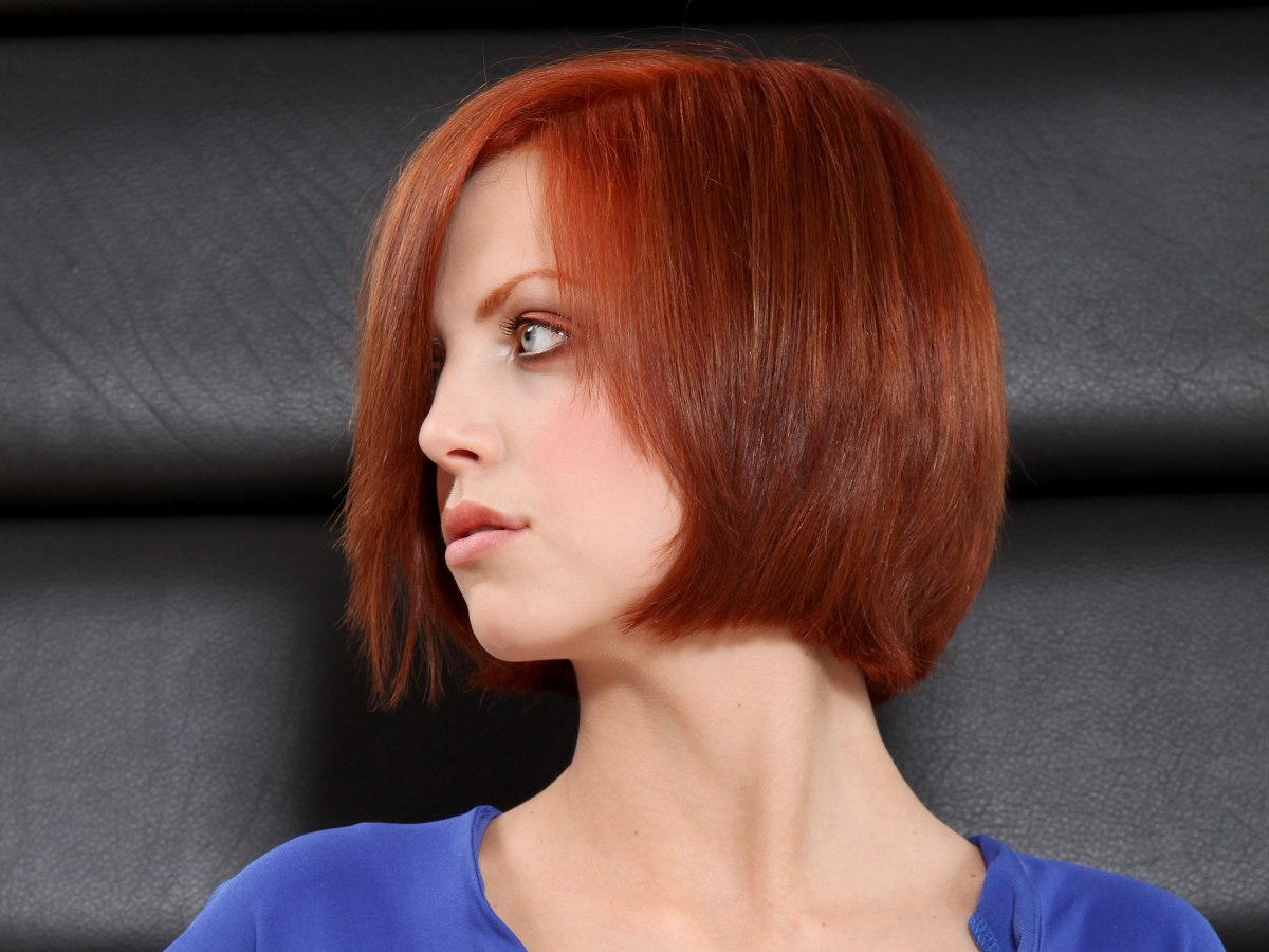 Short Chin Length Bob With An Edge That Curves In