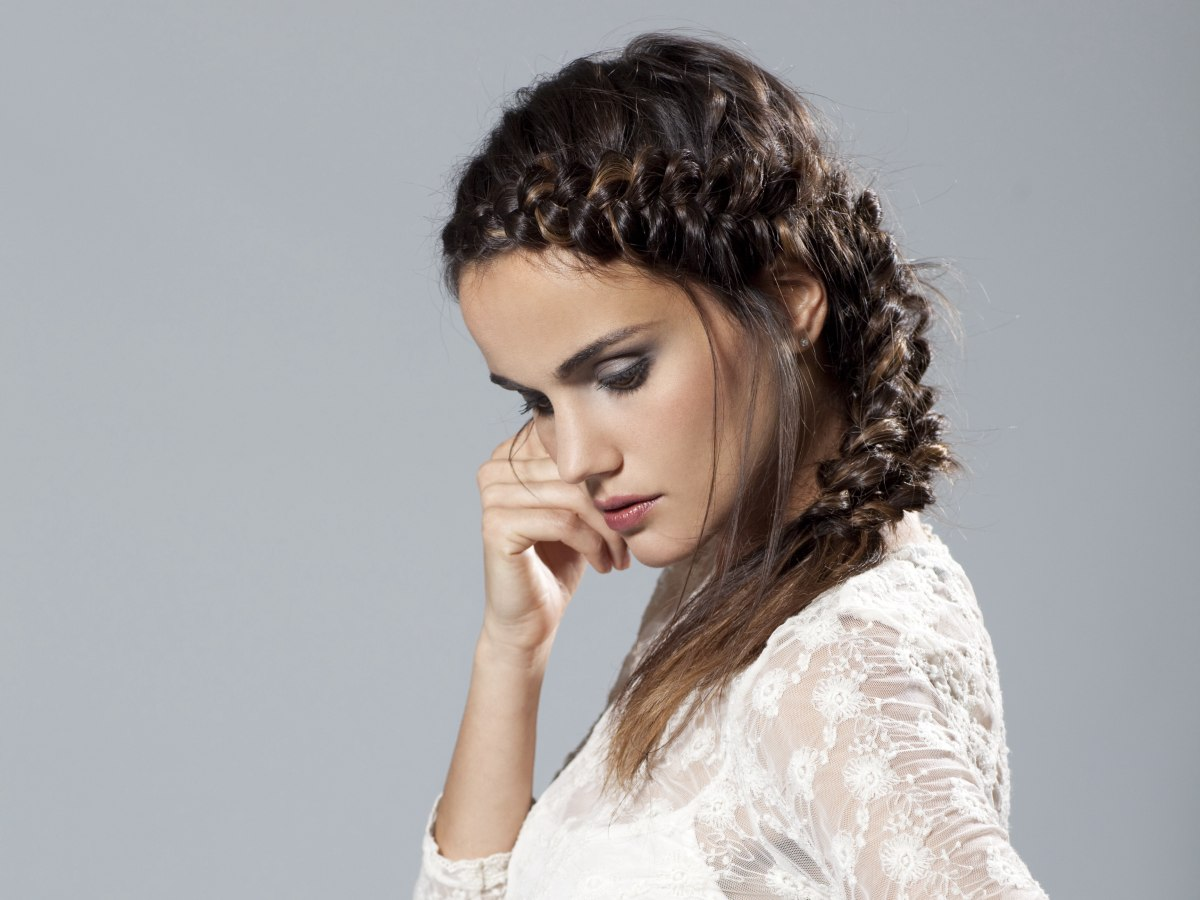 Peasant Look Hairstyle Created With The French Braid Technique