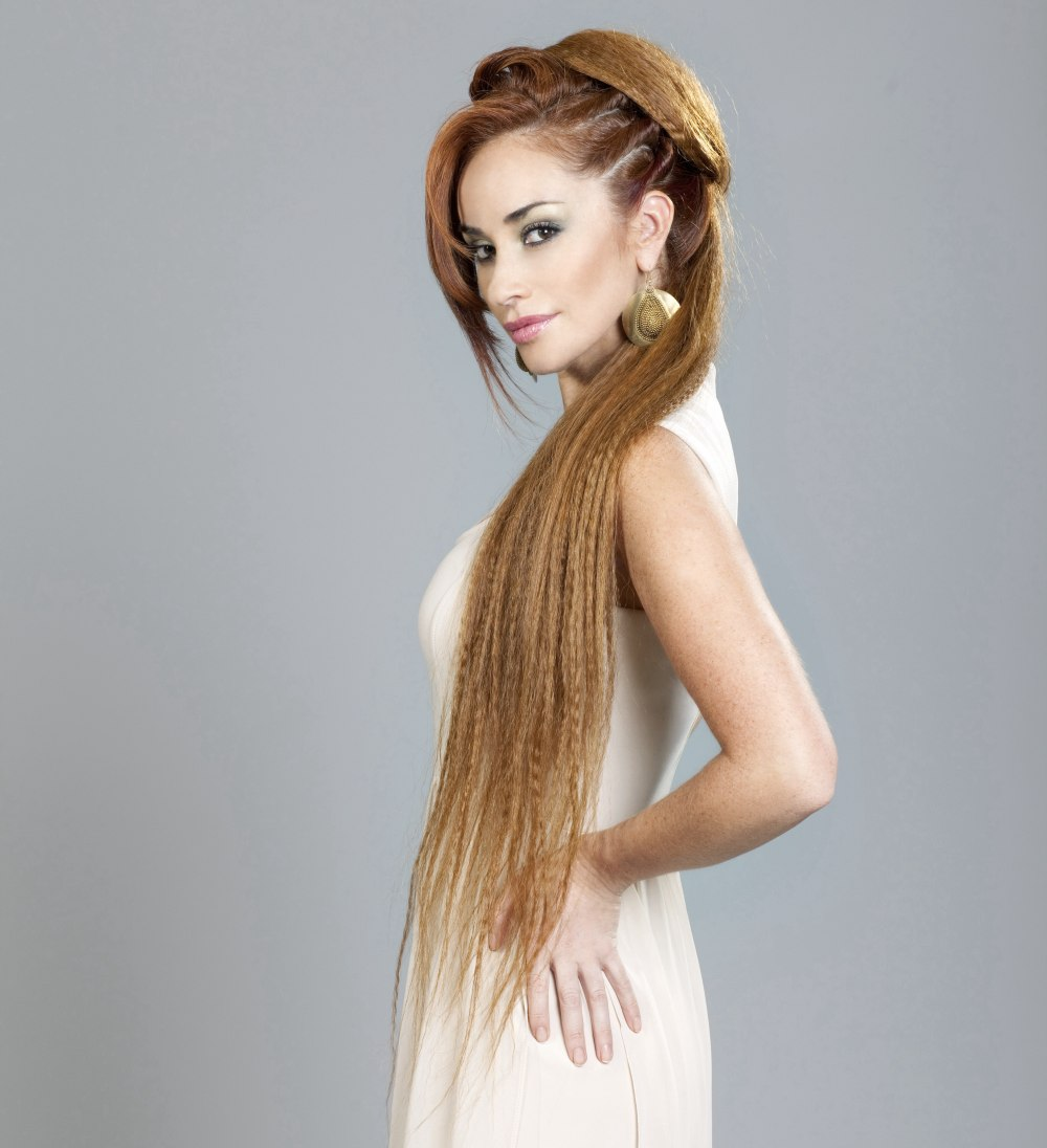 Images Of Hairstyles Long Hair: Hip Long Hair, Crimped And Styled To A Semi Updo