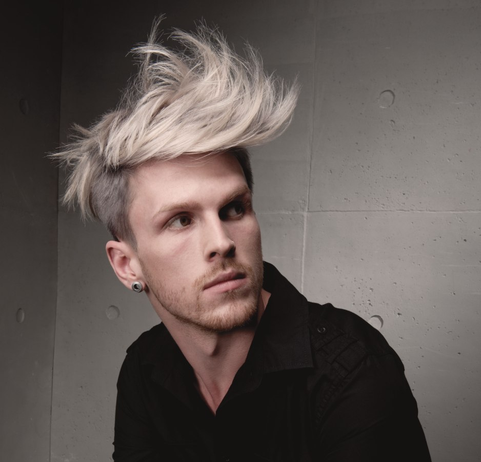 Pleasant Men39S Hairstyle With A Long Fringe And Streaks Hairstyles For Men Maxibearus