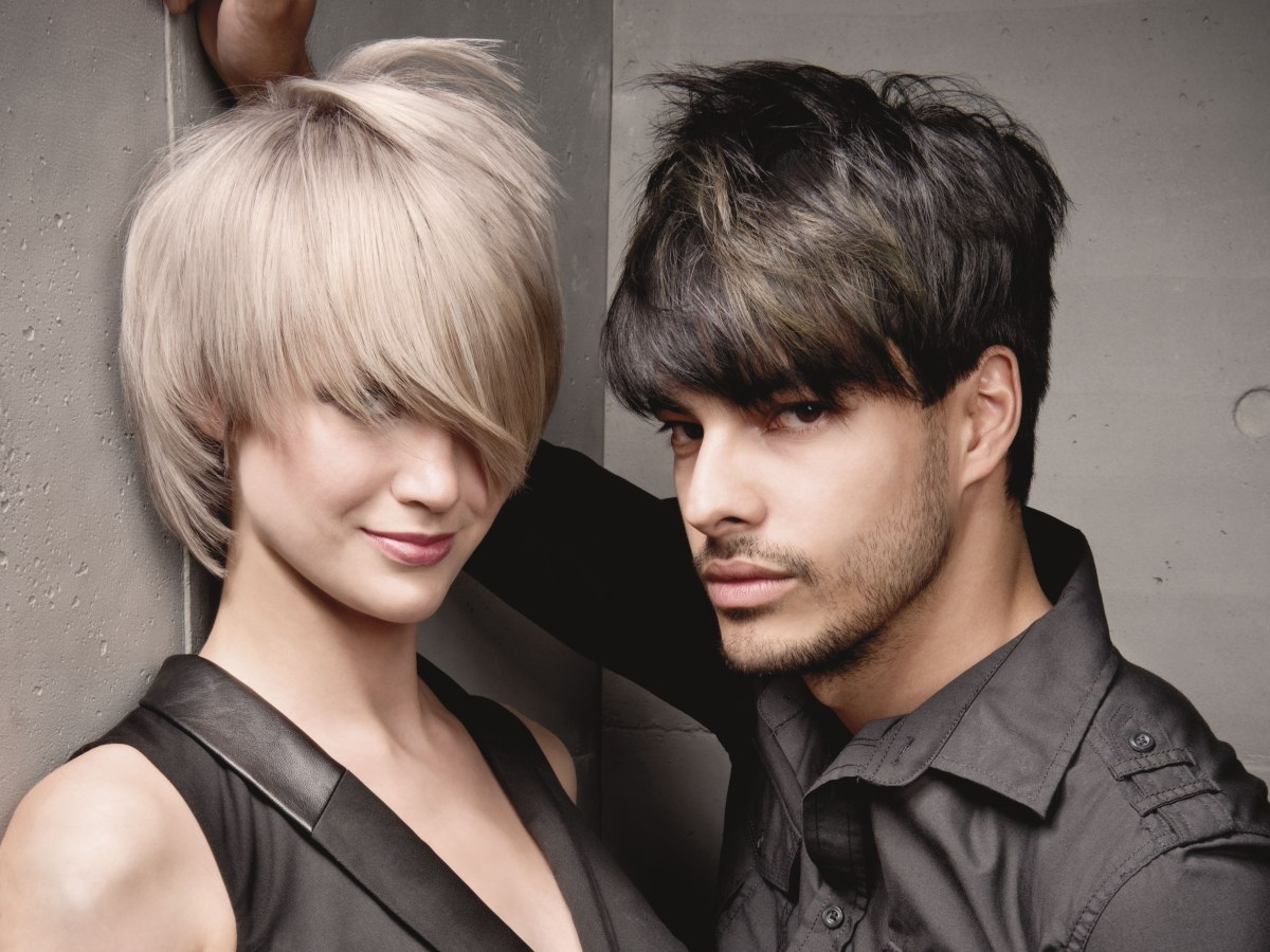Round Bowl Cut For Men Hair With Dark And Light Metal Tones