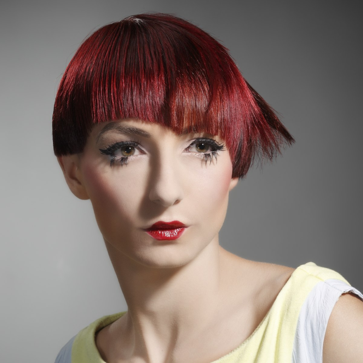 Short Asymmetrical Haircut Modern Shape Red