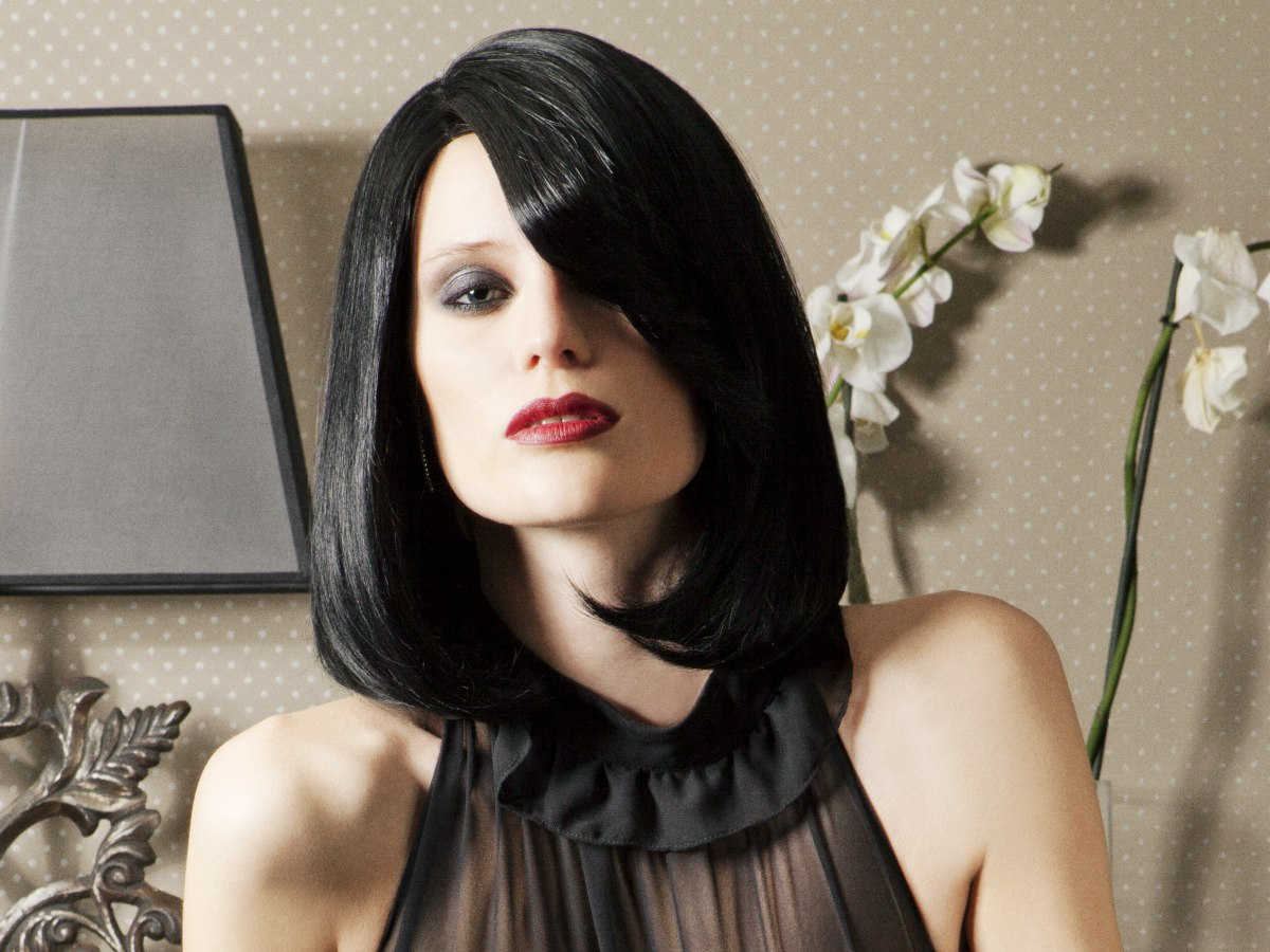 Black Shoulder Length Bob With A Side Part