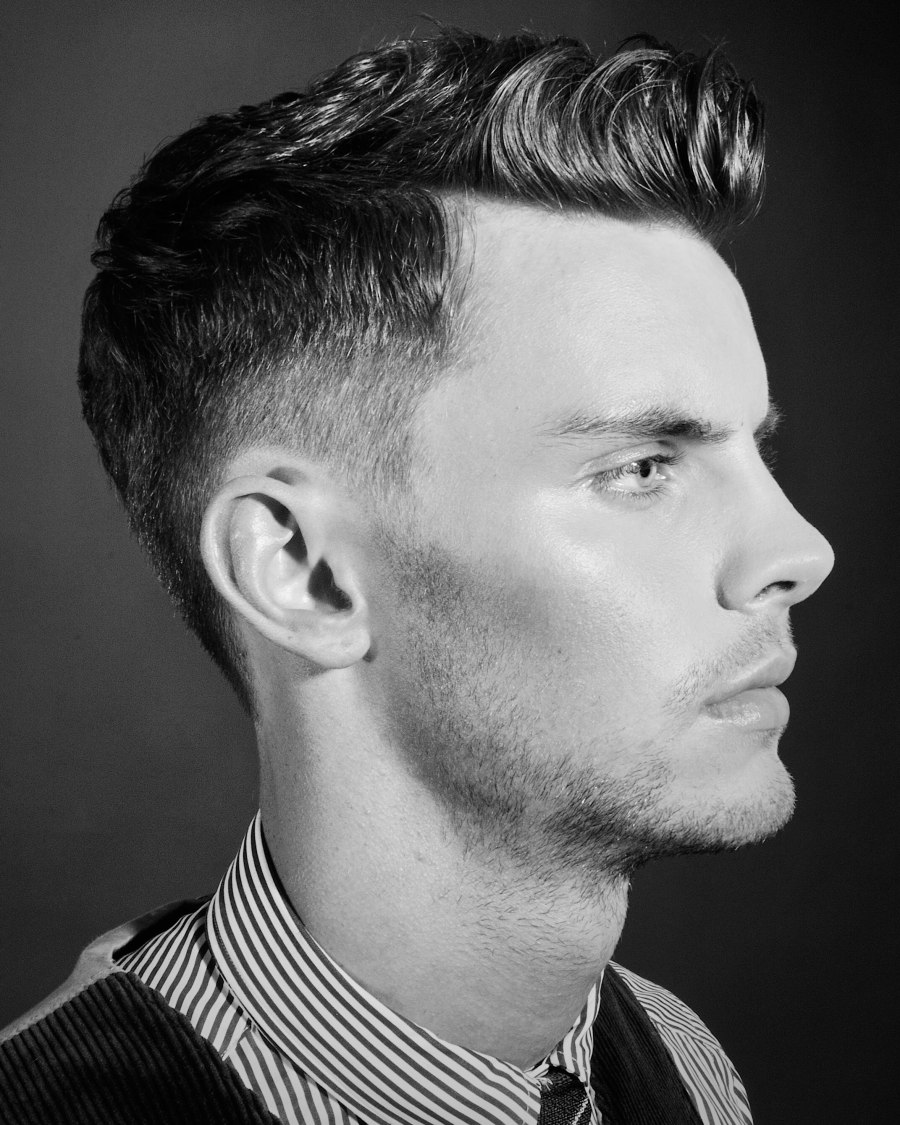 Men Haircut Undercut: Neat Men's Hairstyle With Super Short Shaven Sides And