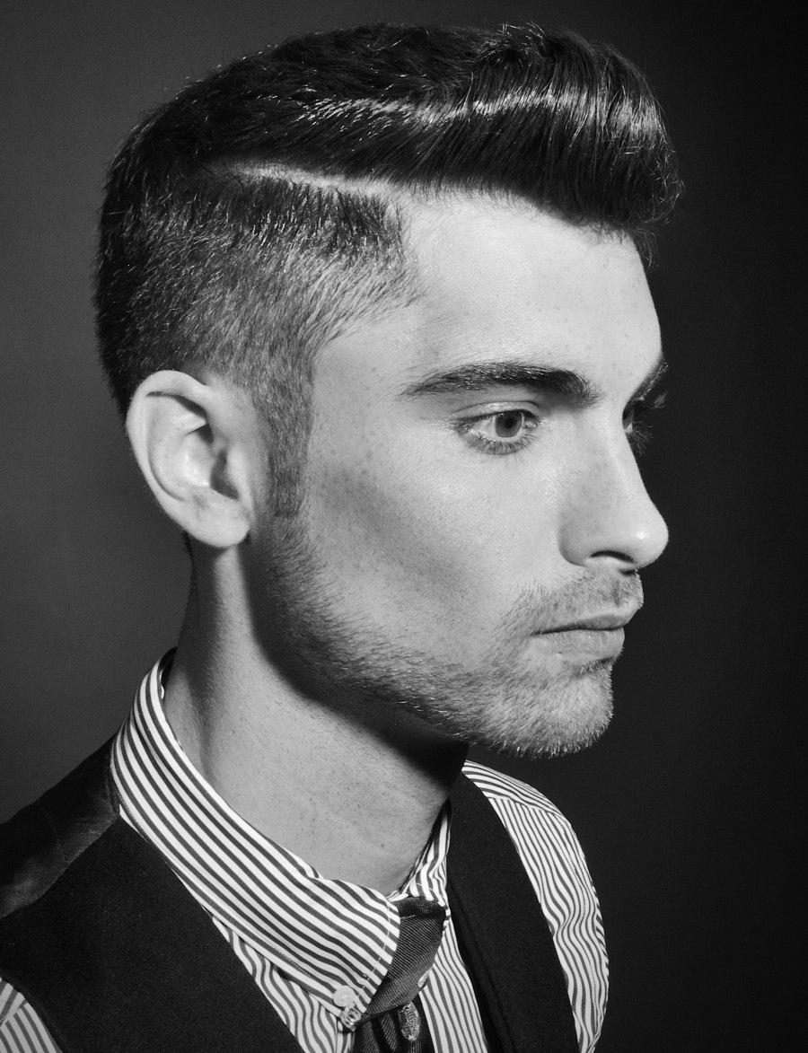 Short Men's Haircut With Clipped Sides That Transition
