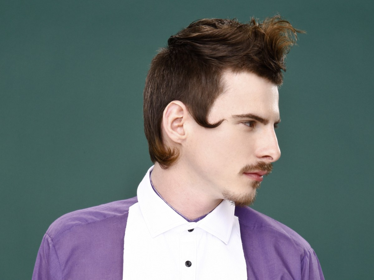 18th century inspired men's haircut and mustache