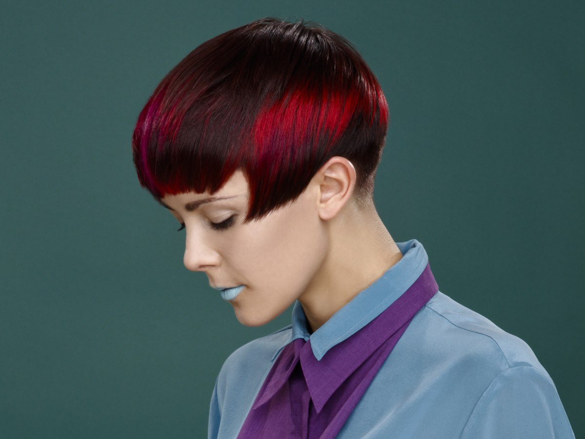 haircut with a short nape and silk blouse collar