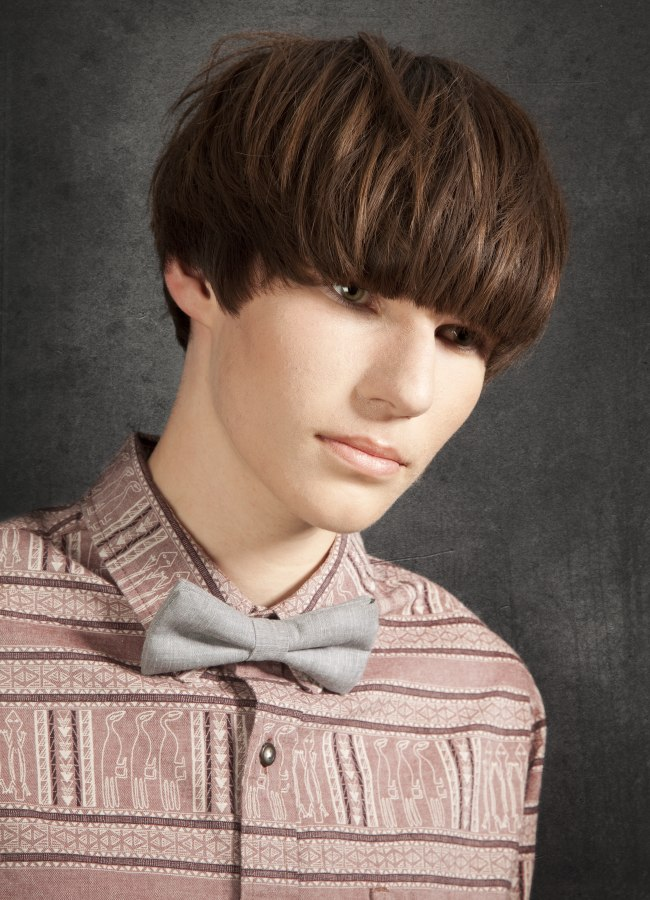trendy mushroom or bowl haircut for men