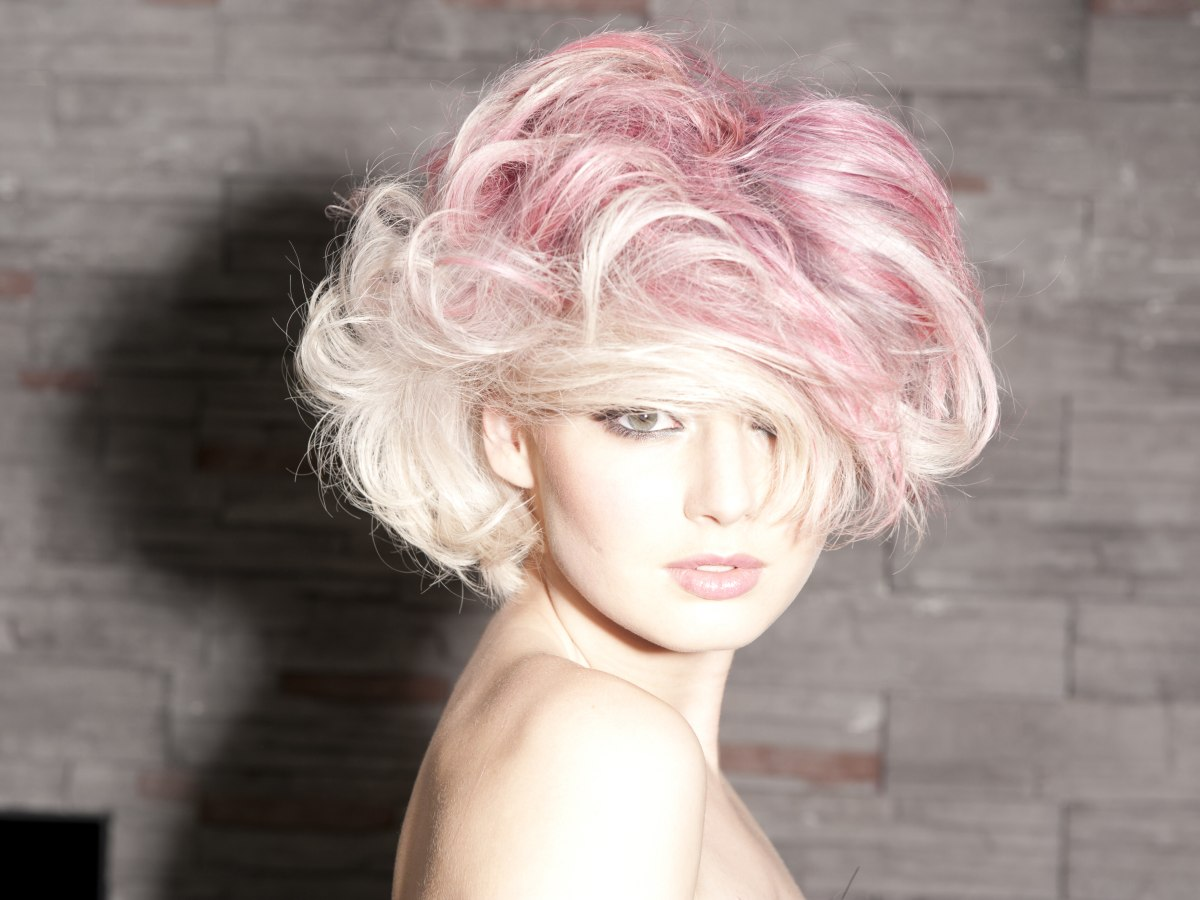 Pinks Hair Style: Platinum Blonde And Pink Hair With A Lot Of Volume