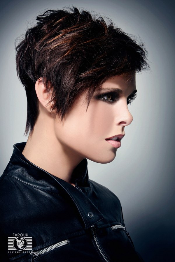 Short Razor Textured Haircut With Elongated Lines Side View - Razor haircut