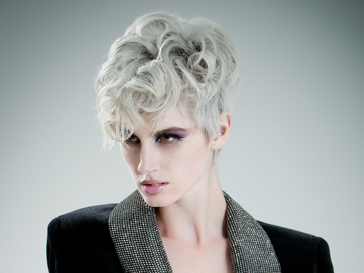 Short Silver Hair With A Smooth Curved Fringe And Curls On The Crown - Silver hair styles