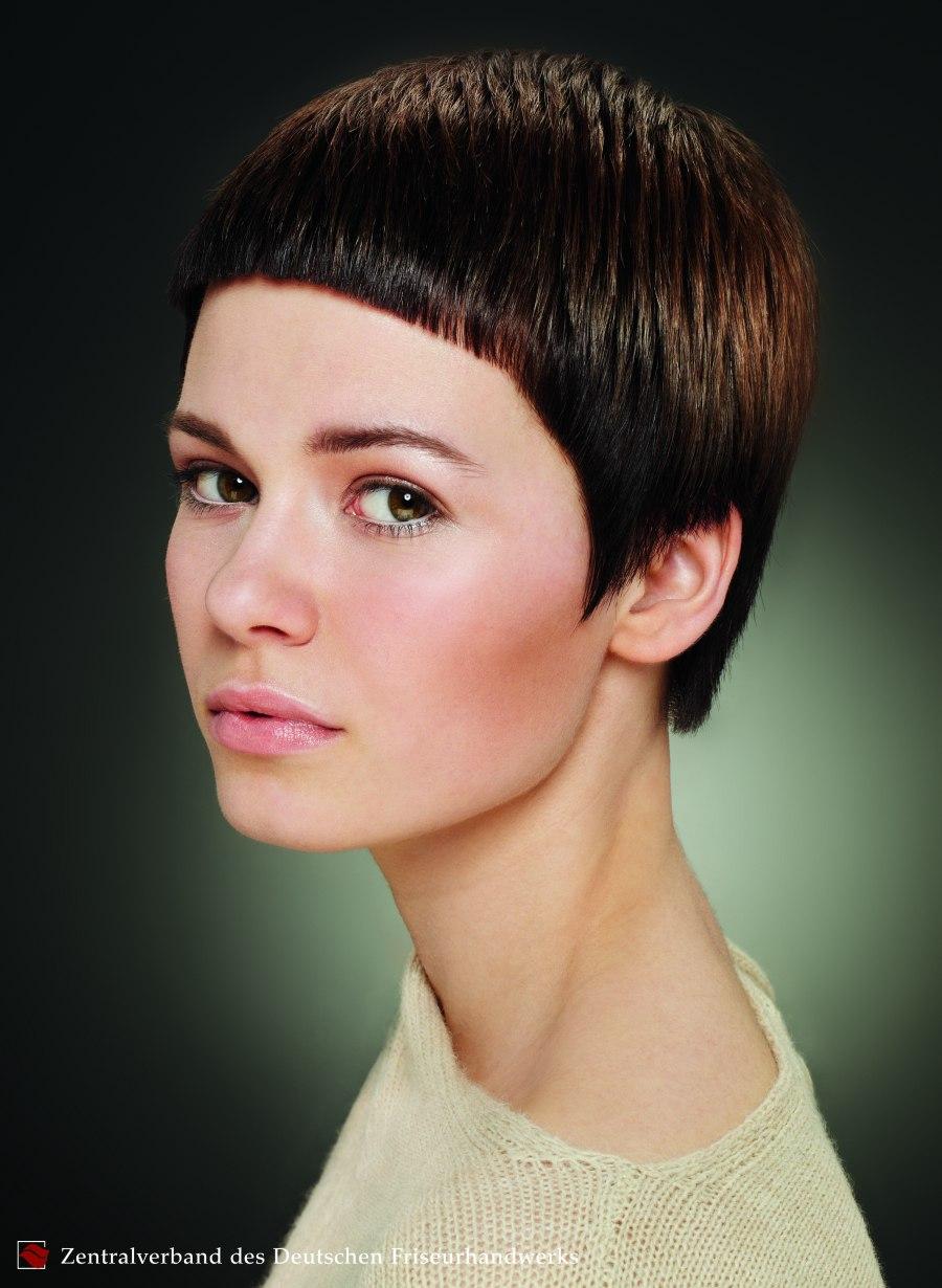 Very Short Haircut With Dramatically Short Bangs