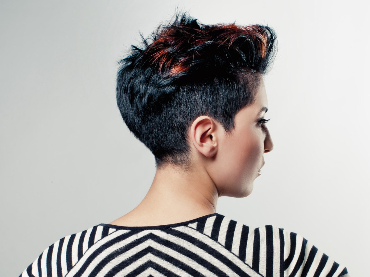 Short Japanese Punk Hairstyle Black Hair With Copper Highlights
