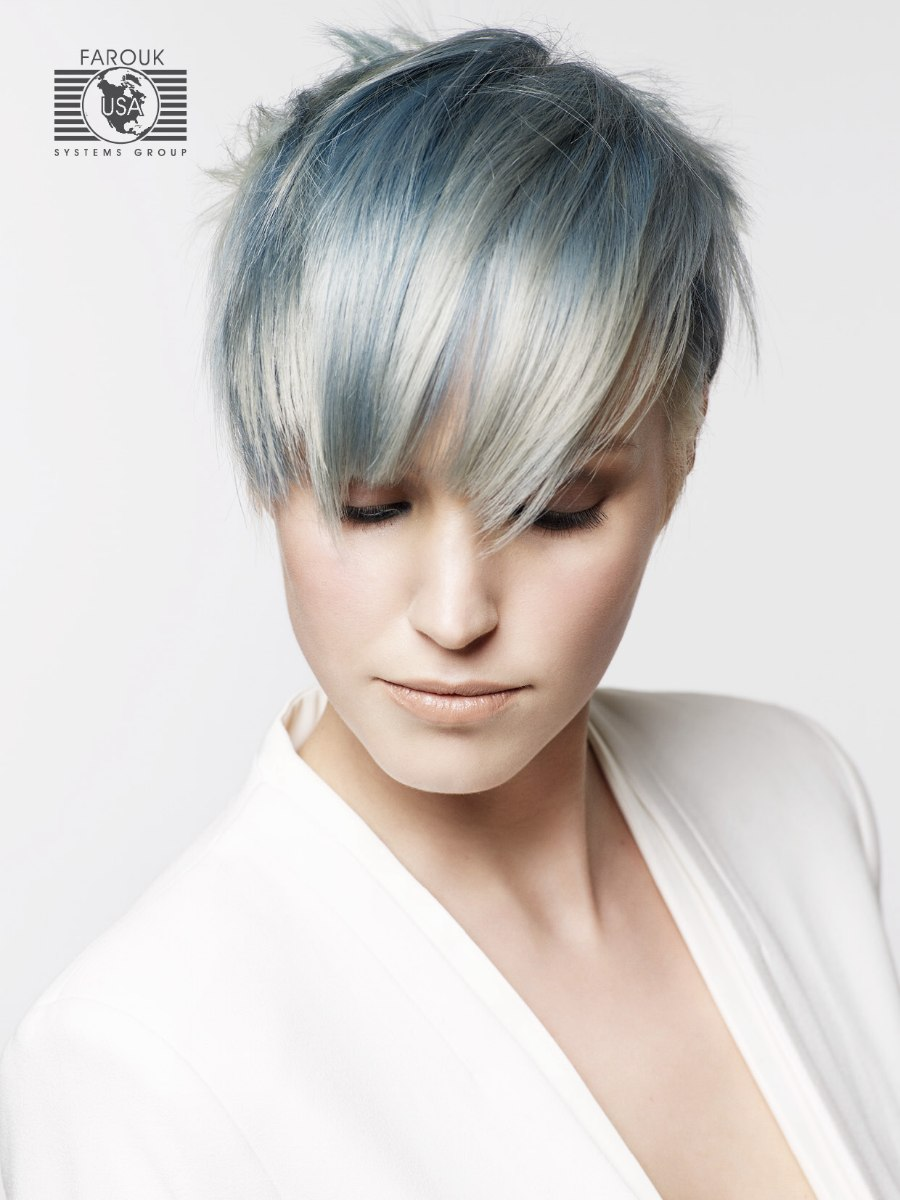 Trendy Short Haircut With Silver And Blue Metallic Hair Colors